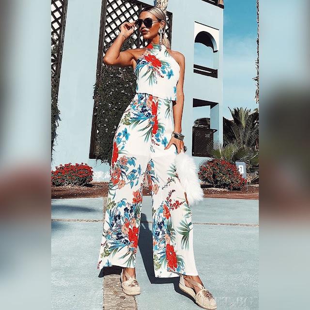 Αμάνικο χρωματιστό σύνολο DENISA - Παντελόνα και τοπ