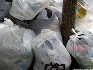 한국 거리 쓰레기 봉투
