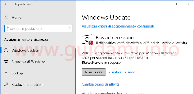 Windows Update di Windows 10 April 2018 Update
