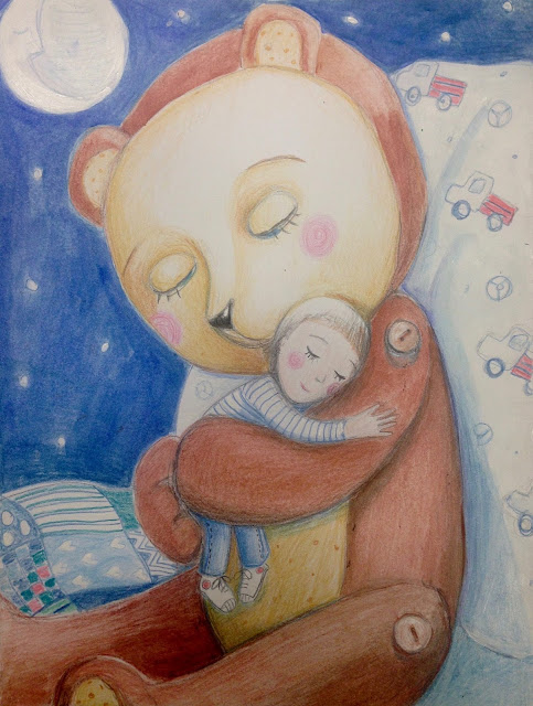 #bearhug #sweetdreams #littleboy #illustration #art #pencildrawing #night #moon