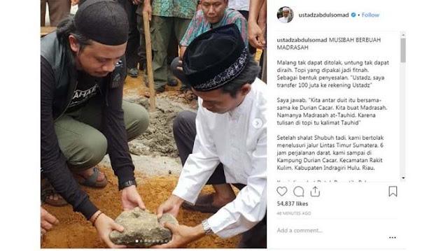 Ustaz Abdul Somad Bangun Madrasah dari Hasil Difitnah, Warga Menangis