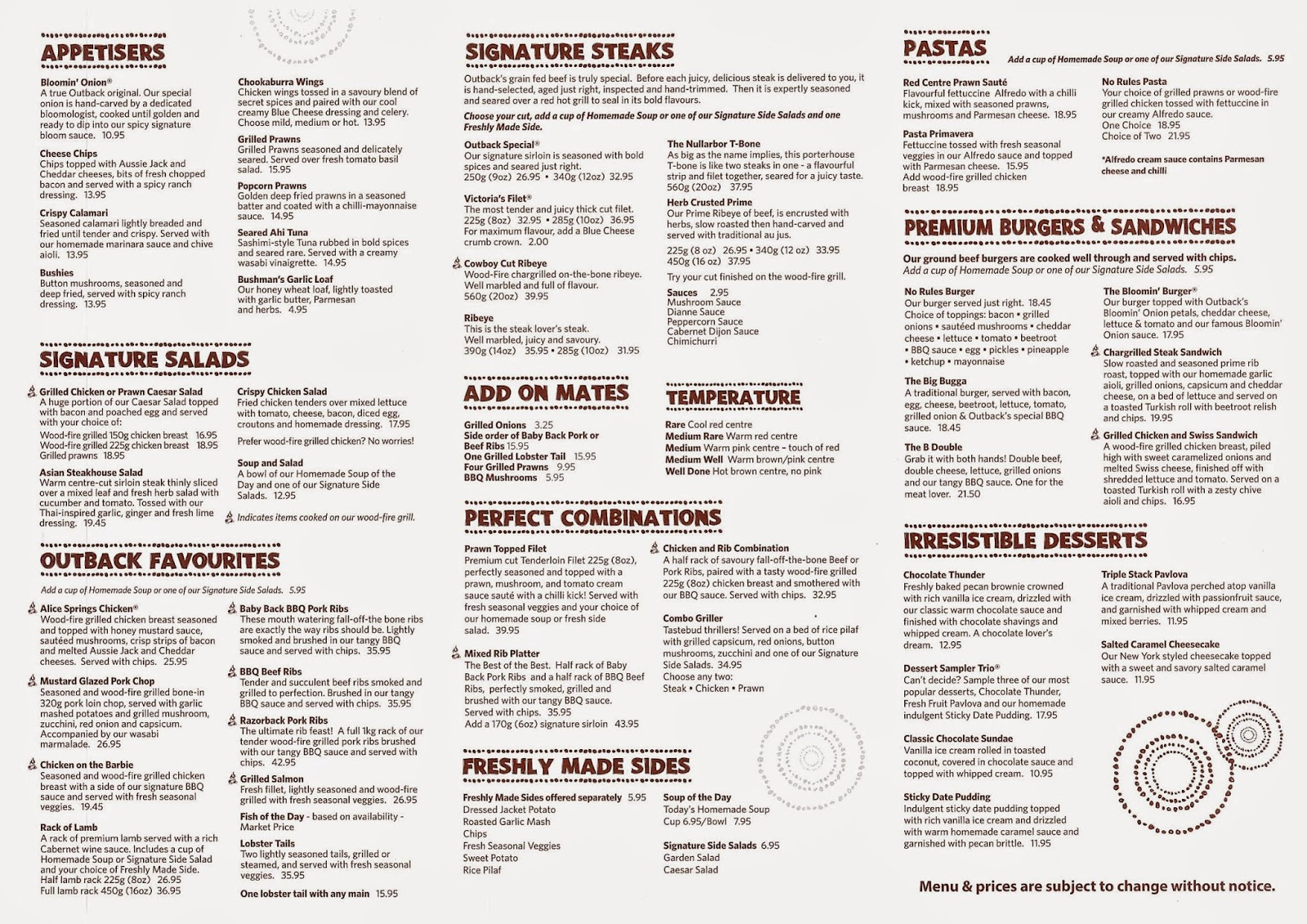 photograph about Outback Steakhouse Printable Menu titled Outback Menu Pdf Final Vehicle Launch 2020
