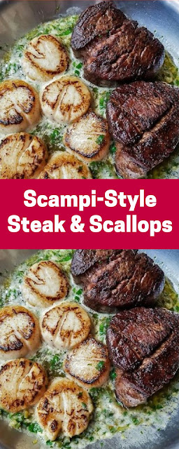 Scampi-Style Steak and Scallops