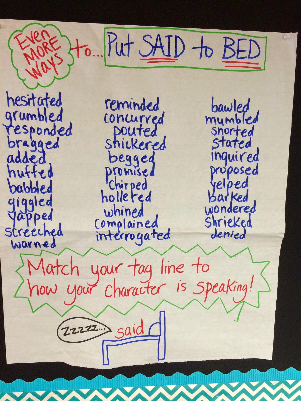 The Teacher Dish Put Said To Bed A Writing Mini Lesson