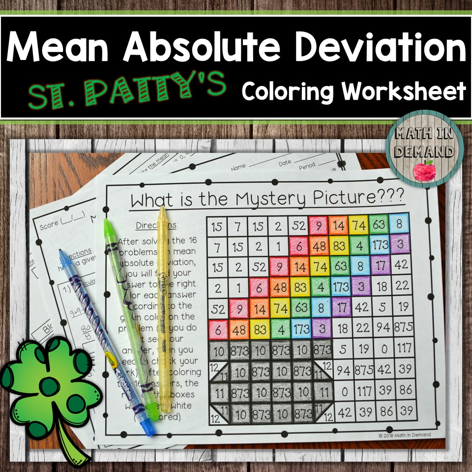 worksheet Mean Absolute Deviation Worksheets mean absolute deviation coloring worksheet my students love these worksheets here is another one on mad