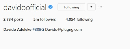 Popular Nigerian Singer, Davido Emerges Nigeria's Most Followed Celebrity On Instagram