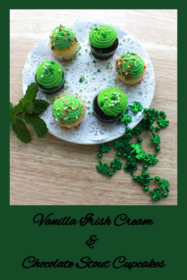 Pinable Vanilla Irish Cream or Chocolate Stout Beer Cupcakes  chocolate cupcakes and vanilla  cupcakes made with stout beer for St Patricks Day on a plate