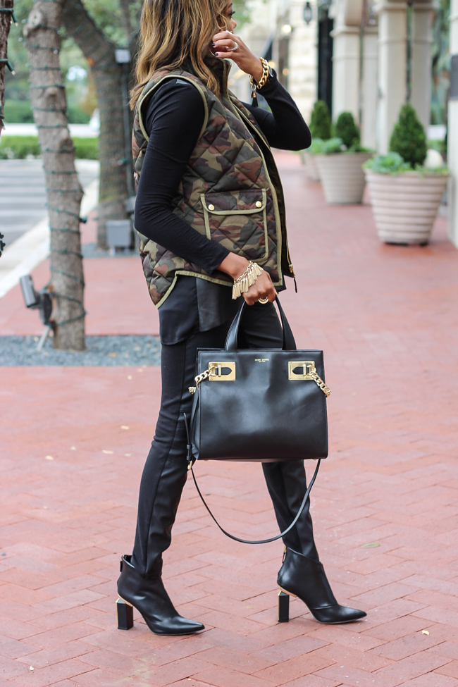 dallas fashion blogger, fashion blogger, detroit fashion blogger, black girl fashion, how to wear camouflage, camo vest, j crew excursion vest, leather leggings, henri bendel whitney satchel, zara metal heeled booties,