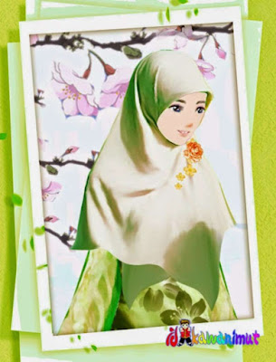 gambar kartun muslimah cantik memakai jilbab hijau