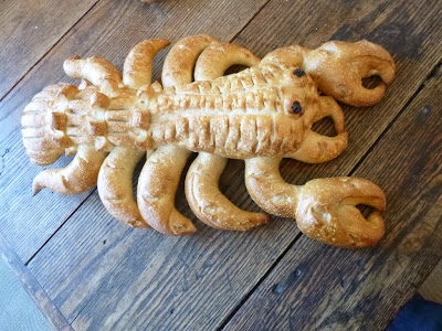 Lobster shaped sourdough at Boudin Bakery in Fisherman's Wharf San Francisco