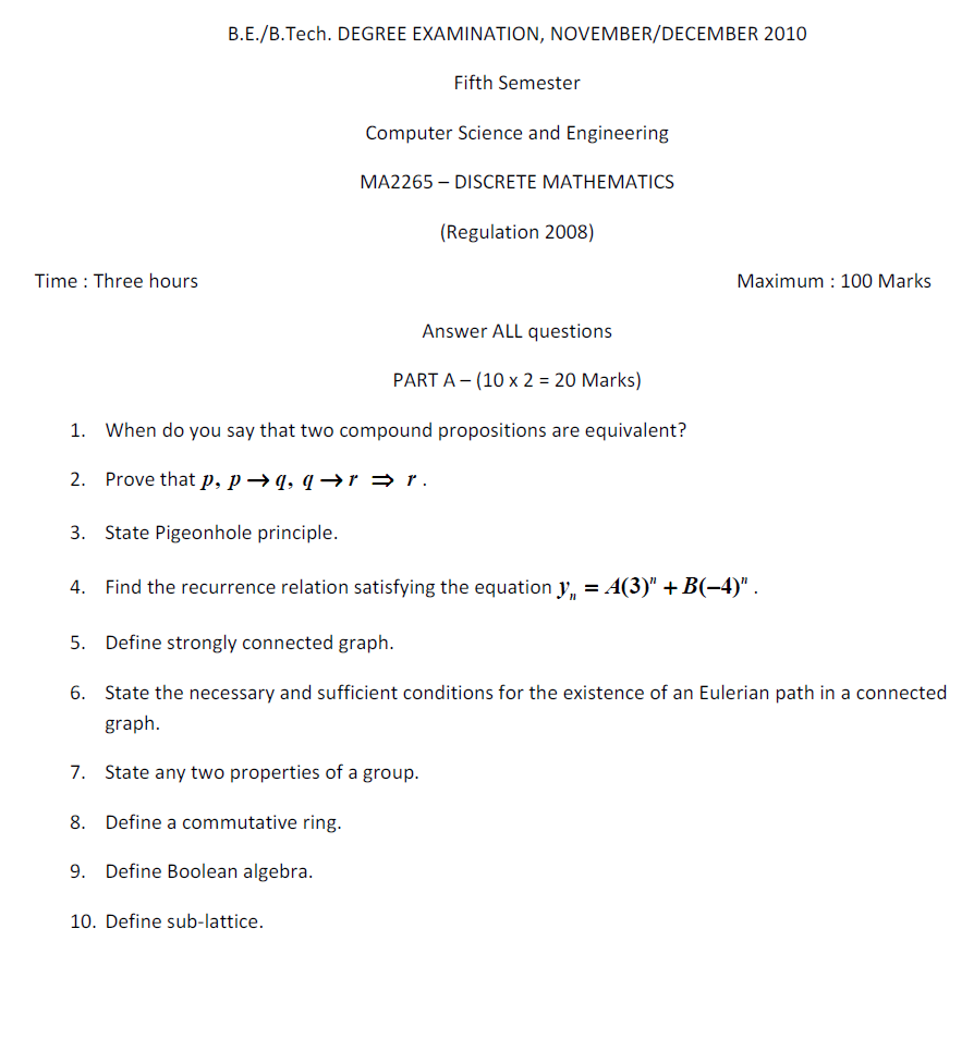 MA2265 Discrete Mathematics Nov Dec 2010 Question Paper