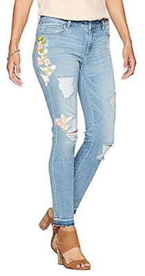 Denim Crush Women's Pastel Floral Embroidered Patch Skinny Jean