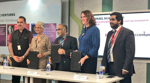 Image Attribute: K.S. Viswanathan, VP, Industry Initiatives, NASSCOM; Dana Kursh Consul General of Israel to South India, & Rekha M. Menon, Chairman & SMD, Accenture India sign the formal agreement for the Indo-Israel Scalerator Program. / Source: Official Twitter Handle of  NASSCOM  Startups