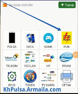 Setelah anda mendownload aplikasinya. Selanjutnya masuk ke aplikasi PULSA CENTER lalu pilih menu PLN yang bergambar kuning.