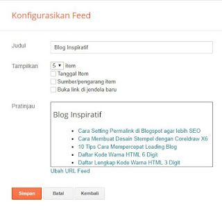 konfigurasi feed di blogspot