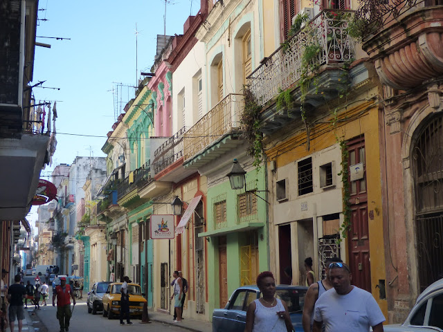 Stereotypical pastel houses in Havana, Cuba