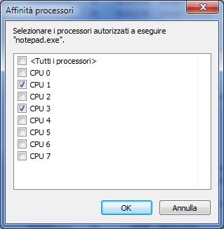 Impostazione affinità del processore