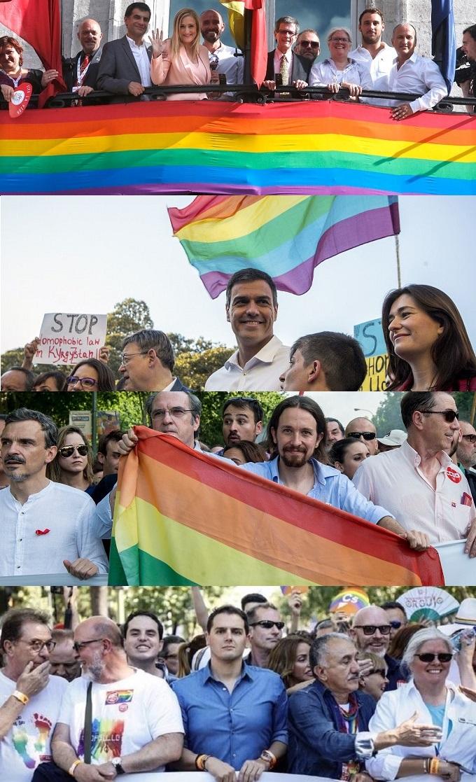 Políticos españoles en el día del orgullo gay