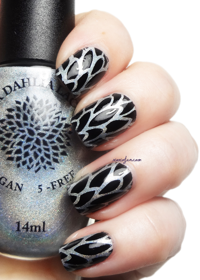 xoxoJen's swatch of Black Dahlia Magical Moss stamped with AP18