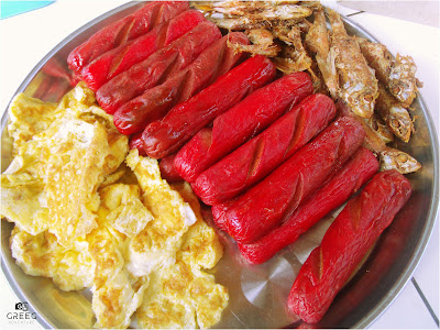 Egg, Hotdog and Dried Fish