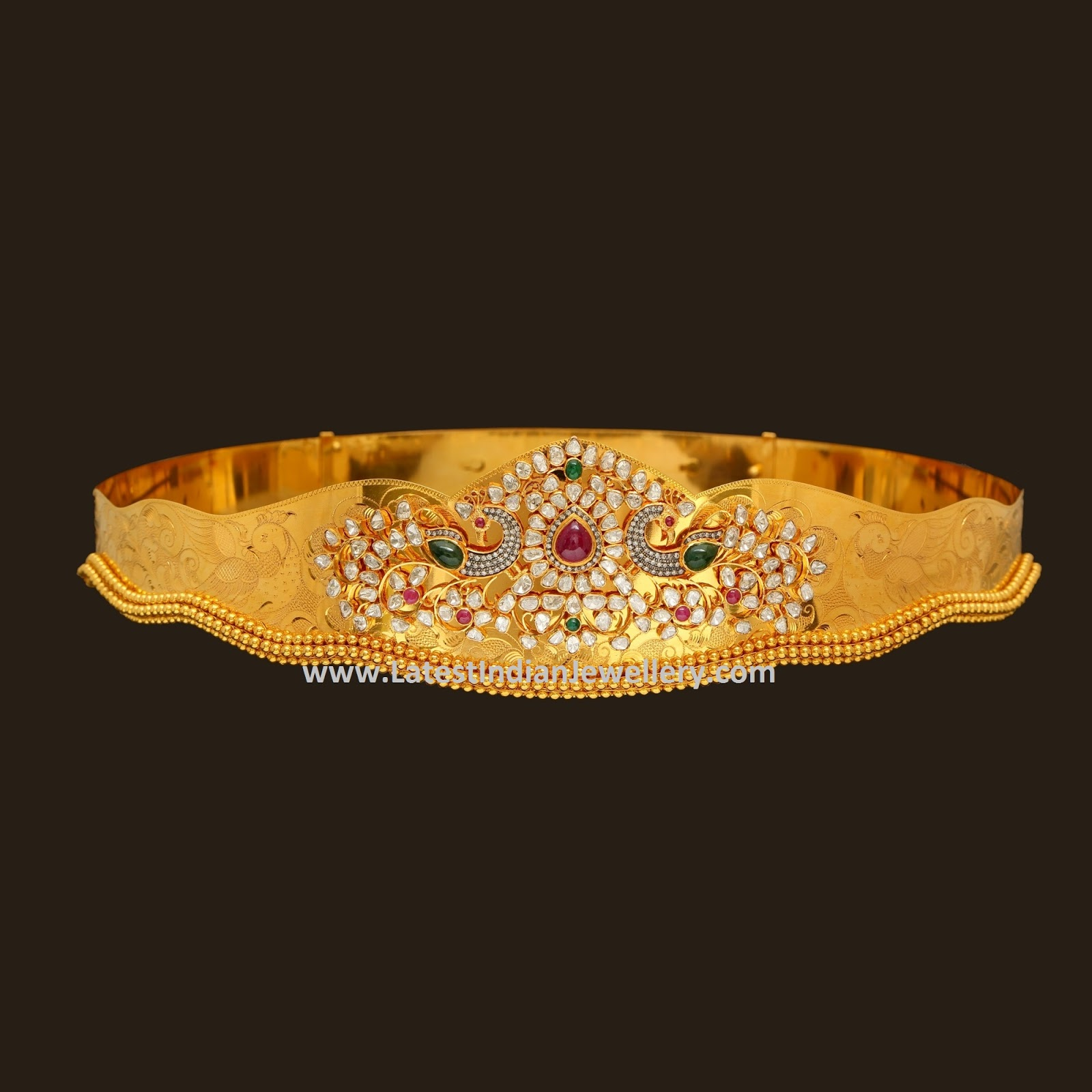 280 Gms Polki Vaddanam Latest Indian Jewellery Designs