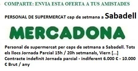 Sabadell, Barcelona, Lanzadera de Empleo Virtual. Oferta Mercadona