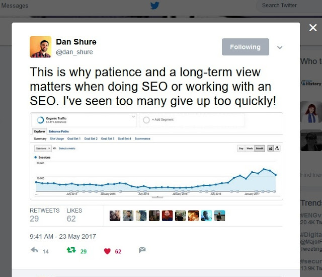 Patience and a long-term view matters when doing SEO or working with an SEO