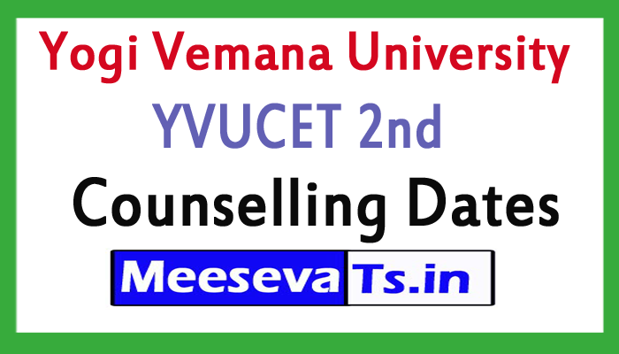 Yogi Vemana University YVUCET 2nd Counselling Dates 2017
