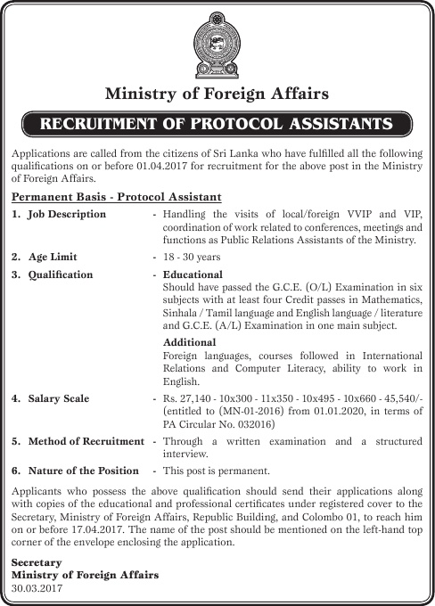 Sri Lankan Government Job Vacancies at Ministry of Foreign Affairs for Protocol Assistant