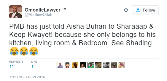 "8 Nigerians react to Buhari's comment that his wife ""belongs to the kitchen, living room"" news"