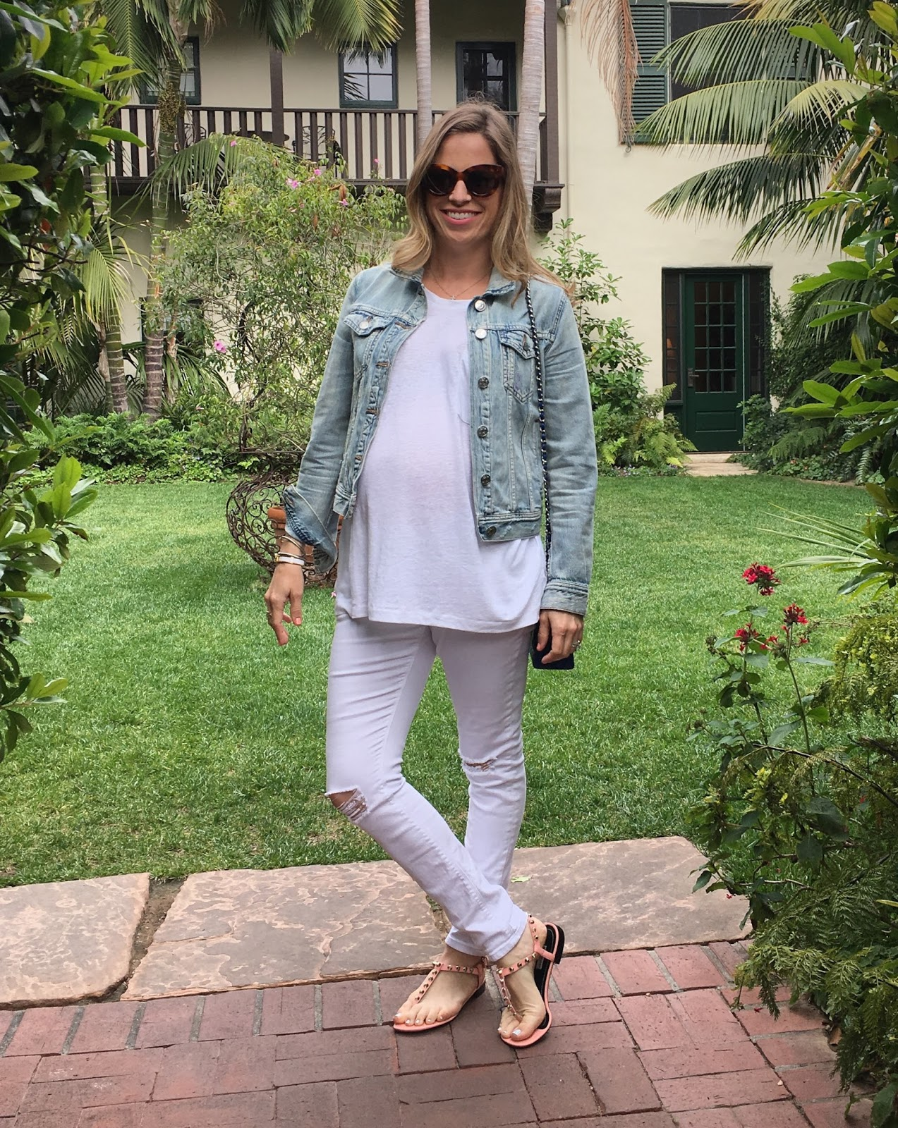 white distressed maternity jeans