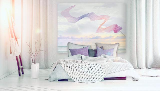 décor mural en tete de lit, vue mer et cerf-volant