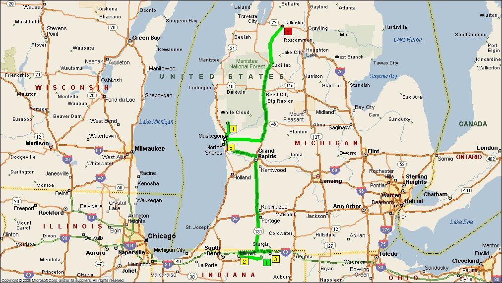 Michigan And Indiana Map.Roving Reports By Doug P 2011 25 Indiana To Michigan