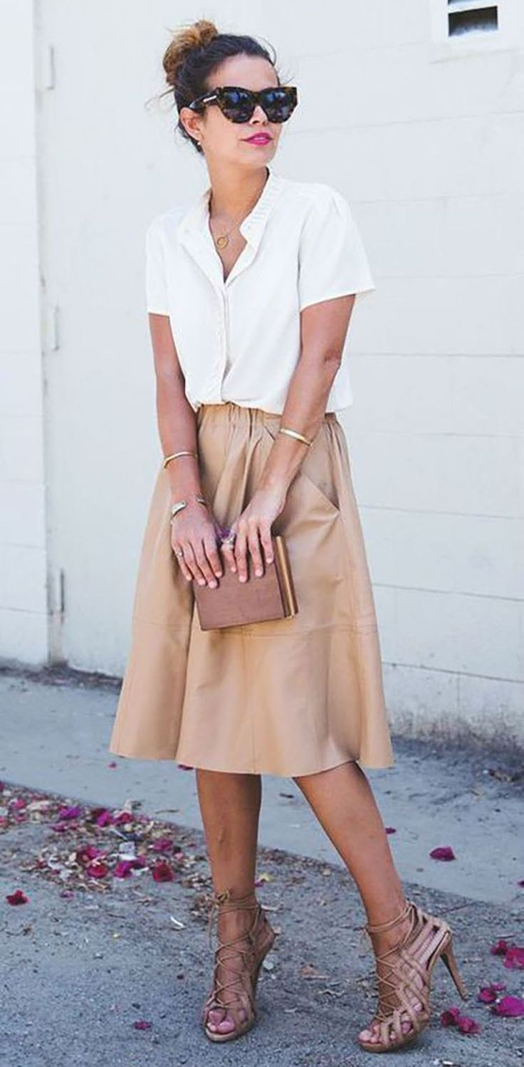 how to style a nude midi skirt : lace up heels + clutch + white shirt