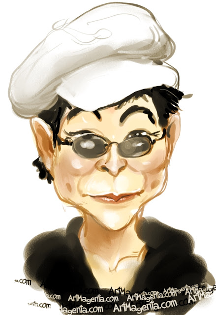 Yoko Ono caricature cartoon. Portrait drawing by caricaturist Artmagenta