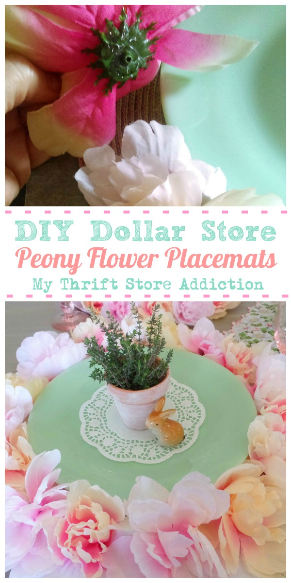 DIY dollar store peony flower placemats
