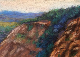 A soft pastel painting of Matheran Landscape by Manju Panchal