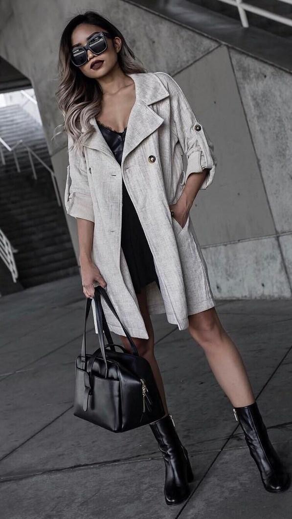 ootd: bag + coat + little black dress + boots