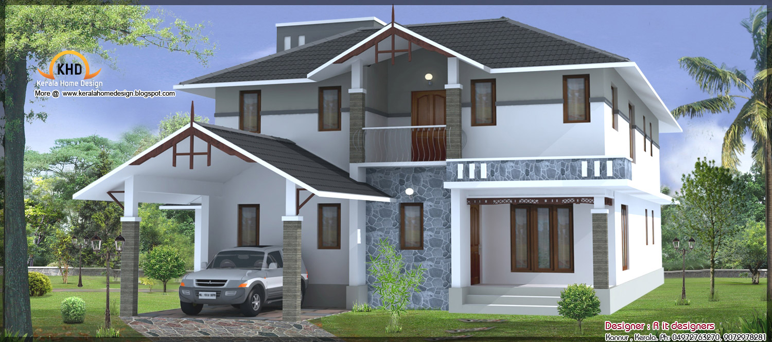 3 beautiful home elevations kerala home design and floor for House beautiful house plans
