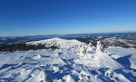Widok z Kościółków w kierunku Małej Babiej Góry.