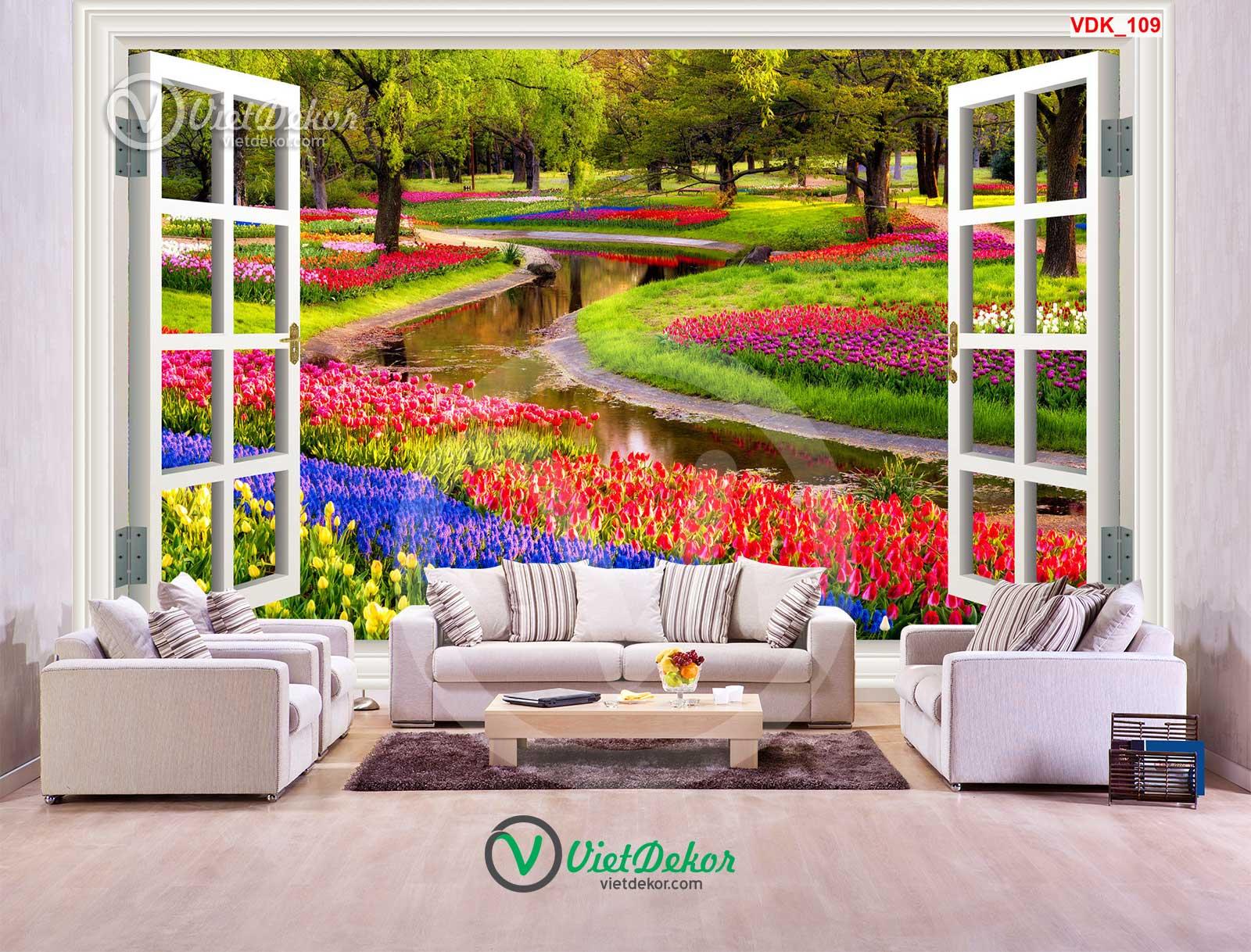 Tranh dán tường 3d cửa sổ rừng cây vườn hoa đẹp