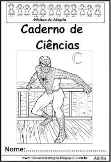 Capa caderno ciências Homem Aranha