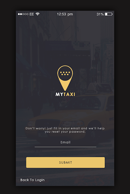 Taxi App Forgot Password screen