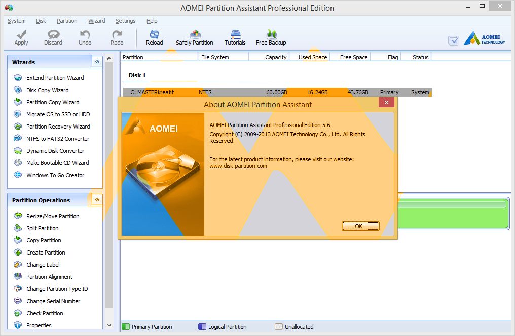 AOMEI Partition Assistant Pro 5.6 Full Crack