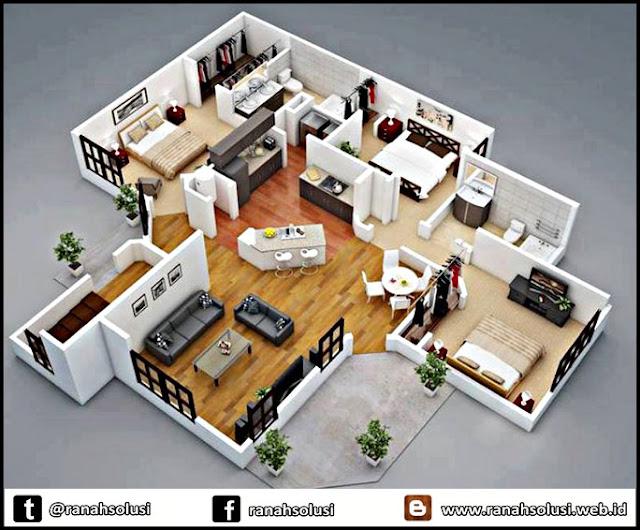 Model Denah Rumah Minimalis Sederhana 3 Kamar Tidur