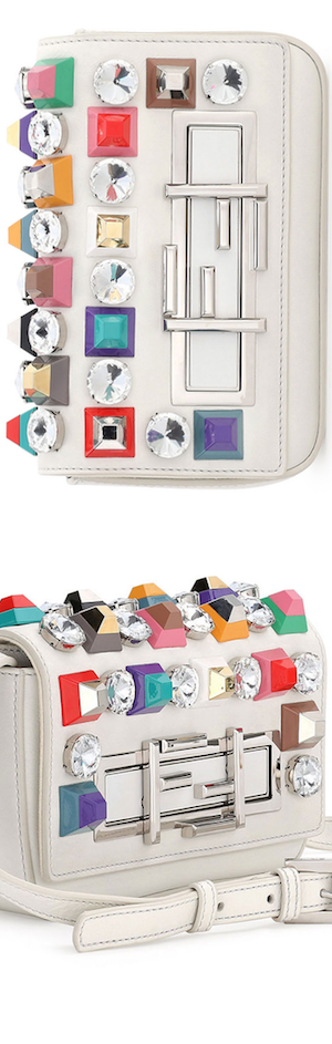 Fendi Baguette Mini Studded/Rhinestone Bag, White Multi