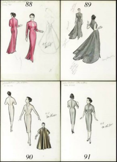 Four sketches of designs Judy Garland's costumes for the 1955 movie A Star is Born