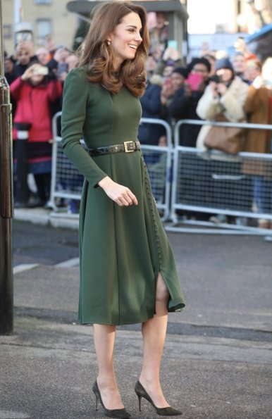 Kate Middleton wore Beulah London Yahvi dress and Kiki Classic Citrine and Diamond Cushion Drop Earrings