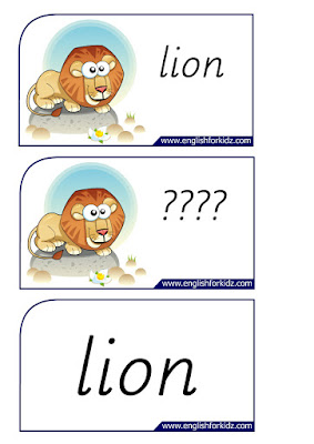 lion printable flashcards