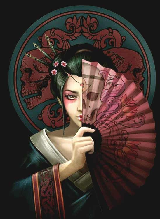 3d anime Geisha tattoo designs for girls